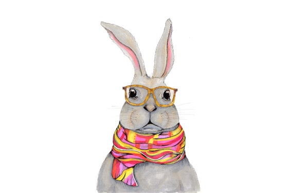 Hipster bunny watercolor bunny wearing glasses painting
