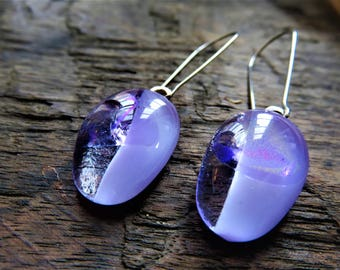 Heather And Running Water, Kiln Fused Dichroic Glass Drop Earrings. Surgical Steel Ear Hooks. Australian Made.