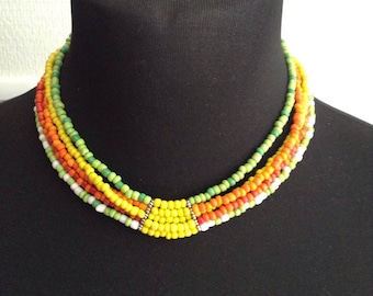 Choker seed beads in five rows