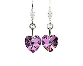 SWAROVSKI Mini Heart Sterling Silver Earrings in Light Vitrail