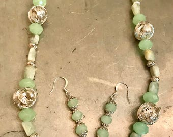 Necklace and Earring Set Made with Light Green Rutilated Quartz, Iron and Chinese Crystals