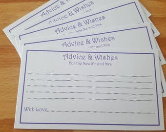 Advice and wishes wedding cards x 20