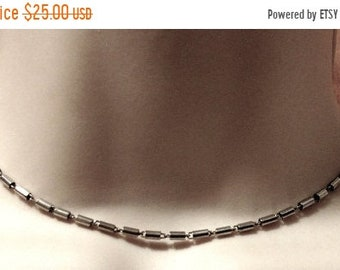 Flash Sale 1980s Signed MONET Vintage Barrel Link Choker Chain Necklace Silver Tone 15 Inches Designer