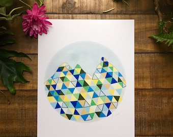 Abstract art print, Mountain, Blue, yellow, green, black, triangle, circle,   watercolor painting, illustrated,  archival,  design