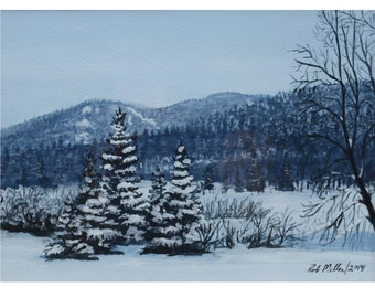 winter painting, mountain painting, acrylic painting, snowy landscape, small painting, framed landscape, original art, canadian painting