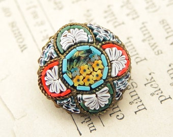 Vintage Micro Mosaic Floral Brooch Pin Jewelry