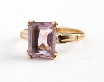 Simulated Amethyst Ring - Vintage 10k Rosy Yellow Gold Filled Purple Glass Statement - Size 6 Emerald Cut February Birthstone MH Jewelry