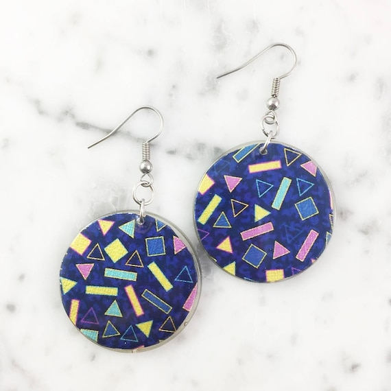 Resin earrings, abstract, yellow, blue, pink, green, geometric, unique, handmade, sold, earring, hypoallergenic hook