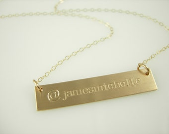 The @ My Name Bar Necklace - Engraved Gold Bar Necklace - Name Bar Necklace