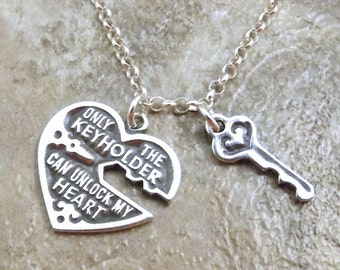 """Sterling Silver Heart and Key Charm on a Sterling Silver  20"""" Rolo Necklace- 0179"""