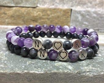 Partner bracelets bracelet set him and her initials letters name 6mm Larvikitt matt Amethyst long distance relationship