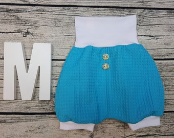 Bloomer Short pants Summer baby pants baby trousers Pumphose tourist waffle towel wooden buttons Uni Turquoise Blue white unisex young girl