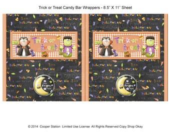 Digital Printable Halloween Candy Bar Wrappers