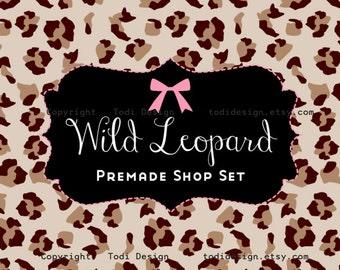 WILD LEOPARD Etsy Shop Premade Banner set