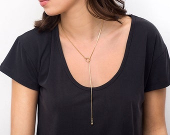Gold Lariat Choker, Long Delicate Necklace, Minimalist Y Necklace, Simple Drop Chain Necklace, Dainty Trendy Necklace, Fashion Necklace