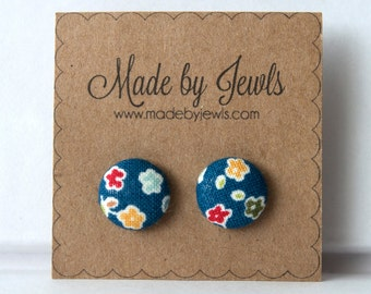 Blue Red and Yellow Floral Handmade Fabric Covered Hypoallergenic Button Post Stud Earrings 10mm
