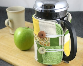 SALE!!  French Press Coffee Cozy in Yellow, Green and Cream by Nstarstudio