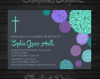 First Holy Communion Invitation, confirmation, baptism, christening, purple, teal, turquoise, green, custom invite, digital file, you print