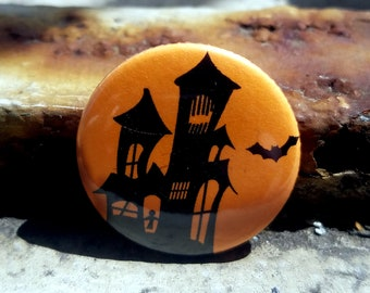Haunted House Silhouette 1 inch Button