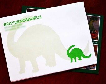 20 5x7 Custom Professionally Printed Dinosaur Color of your Choice Silhouette with Personalized Addressed Birthday White Envelopes