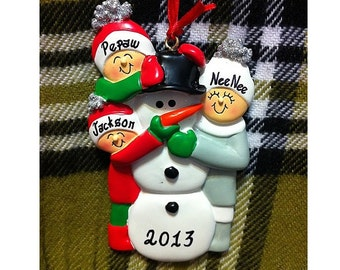 Personalized Christmas Ornament Family of 3 Building Snowman - Family Christmas Ornament - Gift for Mom, Grandma or Family Friends