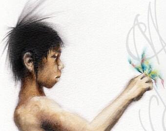 """Martinefa's original drawing - """"Enfant au papillon"""" - (Butterfly child)"""