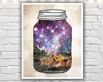 mason jar print - heart wall art - constellation print - mixed media collage art