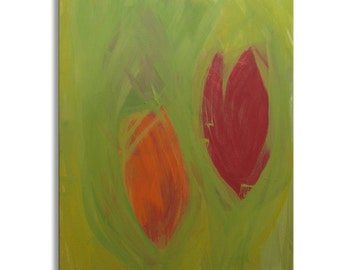"""Original Art, Acrylic Painting, Abstract Expressionism : """"SPRING TULIPS"""" by Erica Vitalia"""
