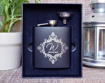 Monogrammed flask, Personalized flask, Engraved flask, Groomsman Gift, Black Matte Flask, Groomsman flask, Custom flask, hip flask. FL002