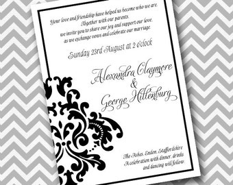 EDITABLE Printable Black and White Bold Damask Element Flat Card