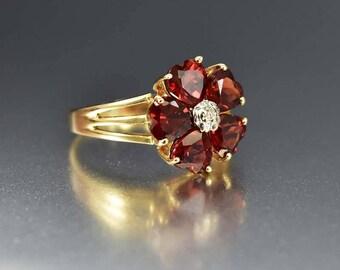 Vintage 14K Gold Garnet Diamond Ring   Garnet Engagement Ring   Statement Garnet Ring   Gold Heart Ring   Flower Ring   Birthstone Ring