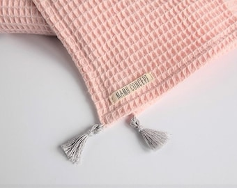 Waffle baby blanket, pink waffle blanket, knitted baby blanket with tassels, pure cotton crib blanket, soft cotton baby girl blanket