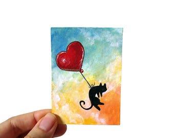 Black Cat Art, ACEO Original, Animal Painting, Pet Memorial Gift, Heart Balloon Decor, Pet Loss, Death of Pet, In Memory, I Love You