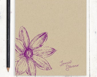 personalized notePAD - DAISY FLOWER BLOOM - kraft notepad - stationery - stationary - flowers - botanical - nature