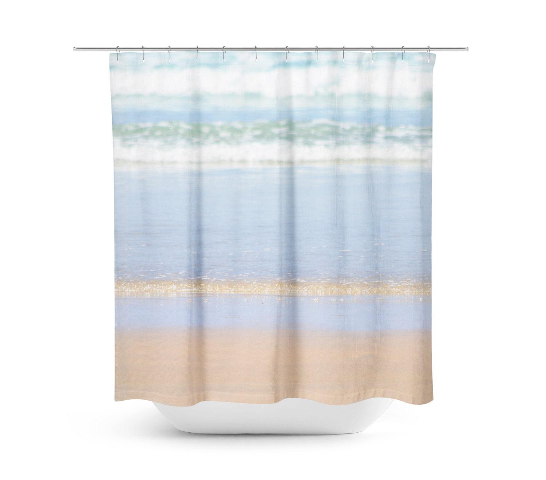 Shower Curtain Beach Blue and Tan Decor Beach Bathroom