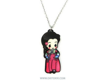 Cute Korean Hanbok Girl Necklace Charm, Korean Traditional Dress, Korean Adoptee Gift For Her, Kpop Fashion Accessory,  Historical Kdrama
