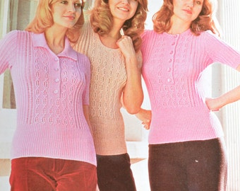 Women's knitted top summer pattern three looks cable vintage knitting pattern pdf INSTANT download pattern only pdf 1970s