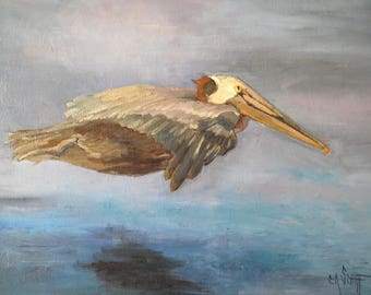 "Wildlife Painting, Flying Pelican, Bird Painting, Original Oil Painting, 16x20"" Oil Painting, Free Shipping in US"