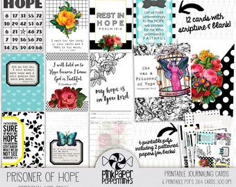 Printable Bible Journal Cards - Traveler's Notebook Printables with Bible Verse - Scripture Card Kit for Faith Planner & Prayer Journaling
