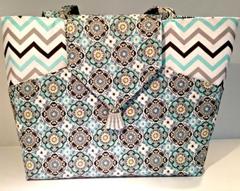 Geometric Designs and Chevron Bag or Purse with Pockets in Aqua Silver Black and Gray