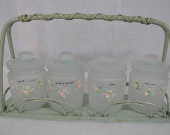 Green 30s Wicker Stand with 4 Frosted Glass Jars with Lids and Hand Painted - Nursery Decor - New Baby