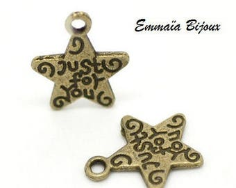 10 pendants star brass 14 x 12 mm
