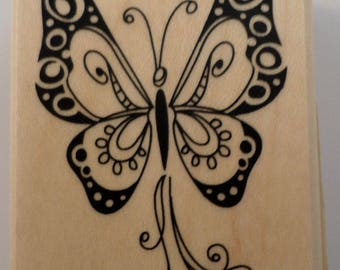 Inkadinkado Whimsical Butterfly Bug Wooden Rubber Stamp
