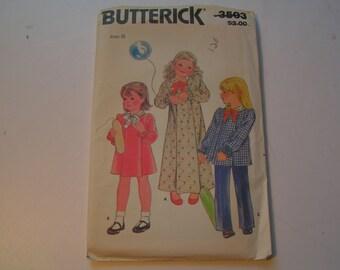 Vintage Butterick Pattern 3503 Child Dress Top Pants