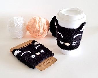 Happy Cat Cup Cozy   Black Cat Cup Cozy   Crochet Cup Cozy   Crochet Cat Cup Cozy   Crochet Cat   Cup Cozy   Crochet Cat Coffee Sleeve