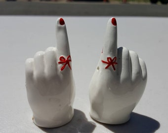 Hands with Red Ribbons and Red Nails Salt and Pepper Shakers