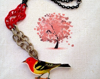 Romantic Spring  Red Bird sitting on a branch Acrylic Charm / Colorful / Silk chain / Black brass / Vintage style statement Collar necklace