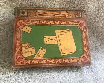 """Antique Wooden Mini Desk/Stamp, Letter, Pen, Card Box  6"""" x 5"""" x 2"""""""