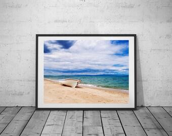 Beach Photo, Boat Print, Sea Art, Digital Print, Black-White Photo, Wall Art, Printable Poster, Digital Download, 5 JPG's