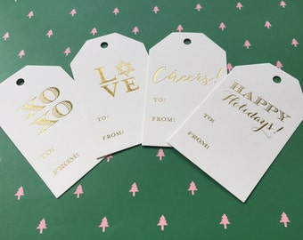 Holiday gift tags {set of 20} | gold foil gift tags | xoxo | love | cheers | happy holidays